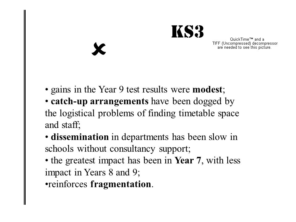  KS3 IMPACT! gains in the Year 9 test results were modest;