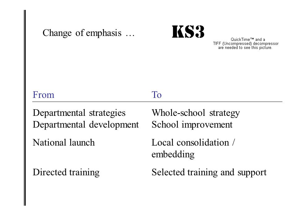 KS3 IMPACT! Change of emphasis … From To