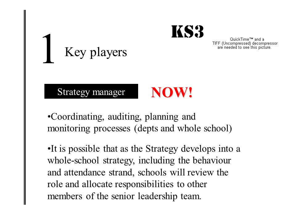 1 KS3 IMPACT! NOW! Key players Strategy manager