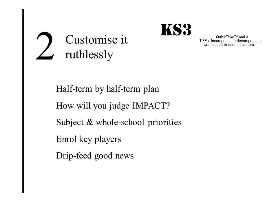 2 KS3 IMPACT! Customise it ruthlessly Half-term by half-term plan