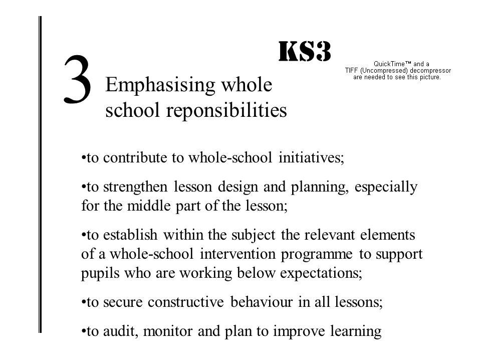 3 KS3 IMPACT! Emphasising whole school reponsibilities