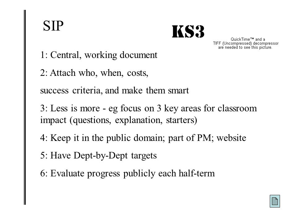 KS3 IMPACT! SIP 1: Central, working document