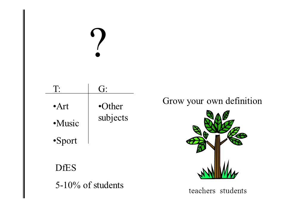 T: Art Music Sport G: Other subjects Grow your own definition DfES