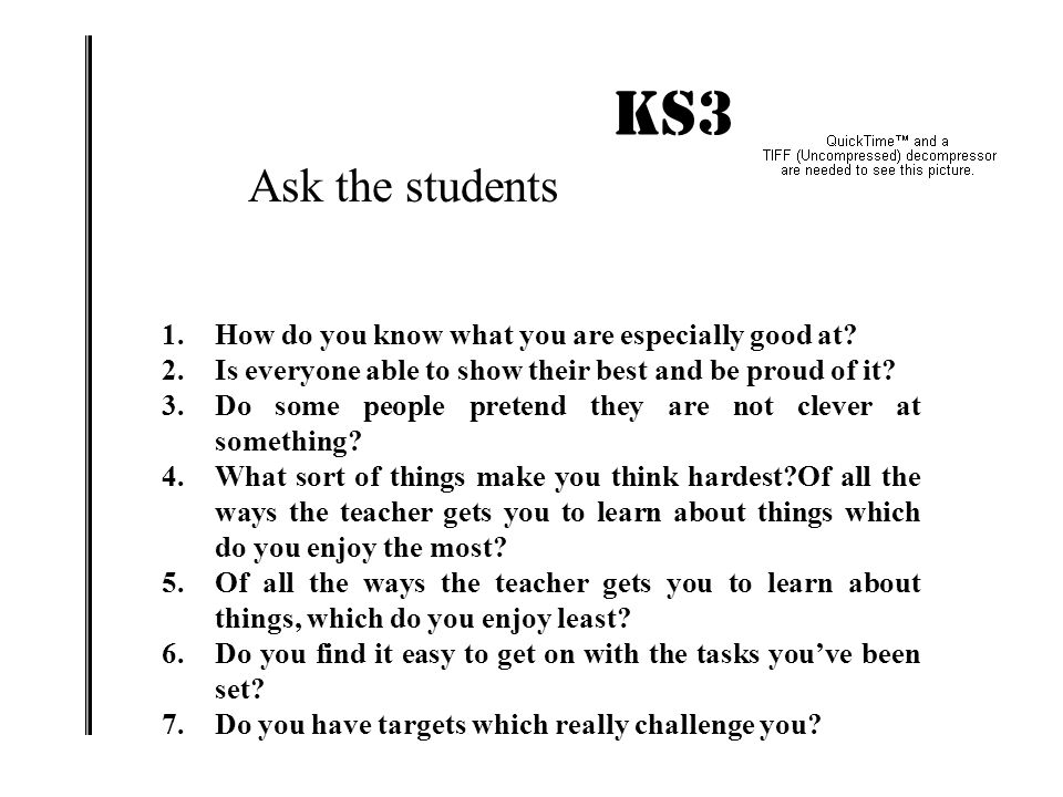 KS3 IMPACT! Ask the students