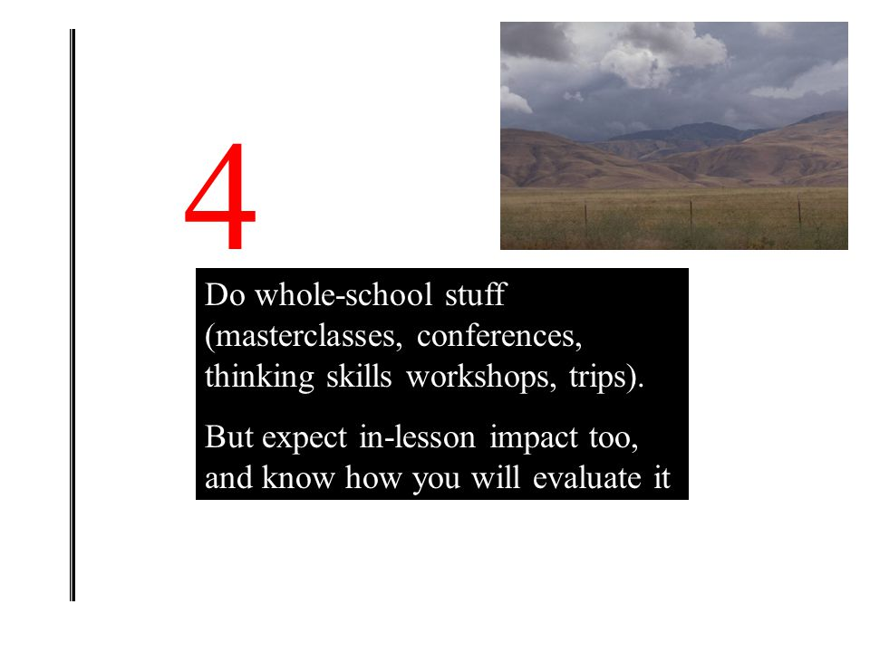 4 Do whole-school stuff (masterclasses, conferences, thinking skills workshops, trips).