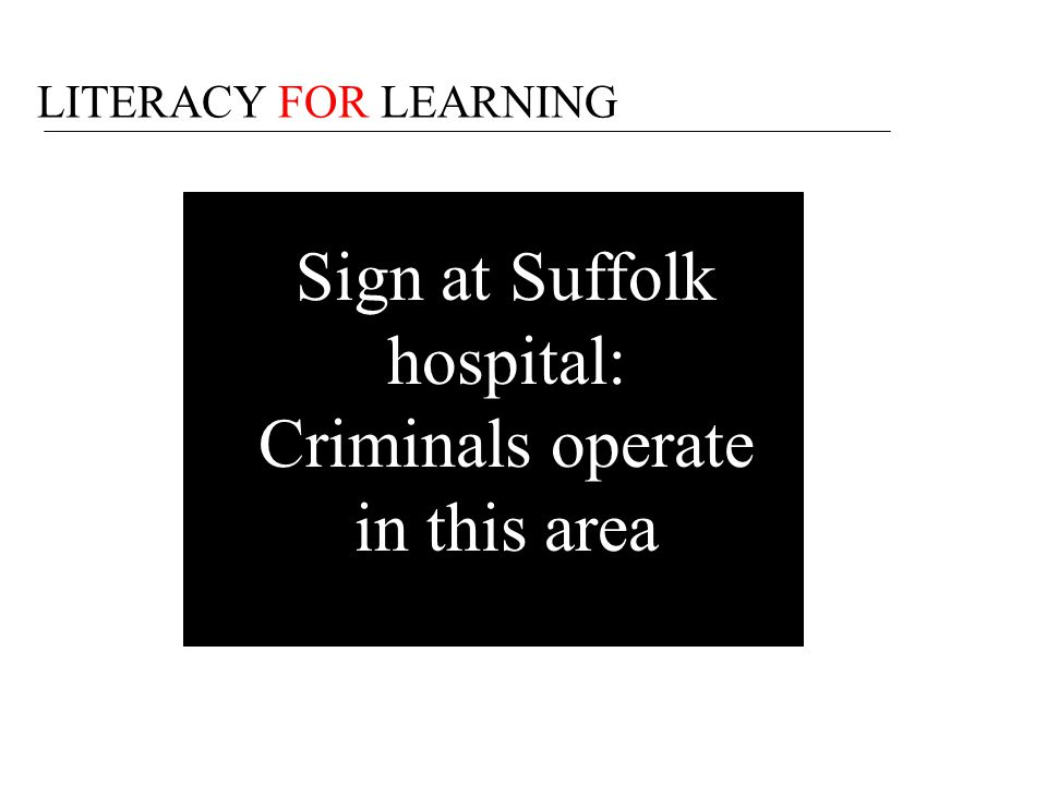 Sign at Suffolk hospital: Criminals operate in this area
