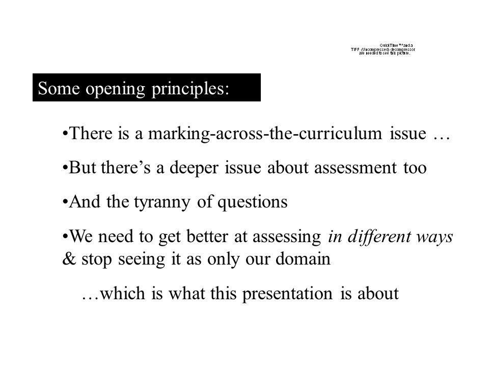 Some opening principles: