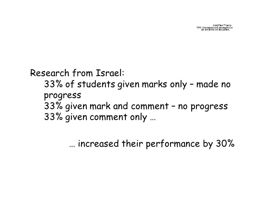Research from Israel: 33% of students given marks only – made no progress. 33% given mark and comment – no progress.