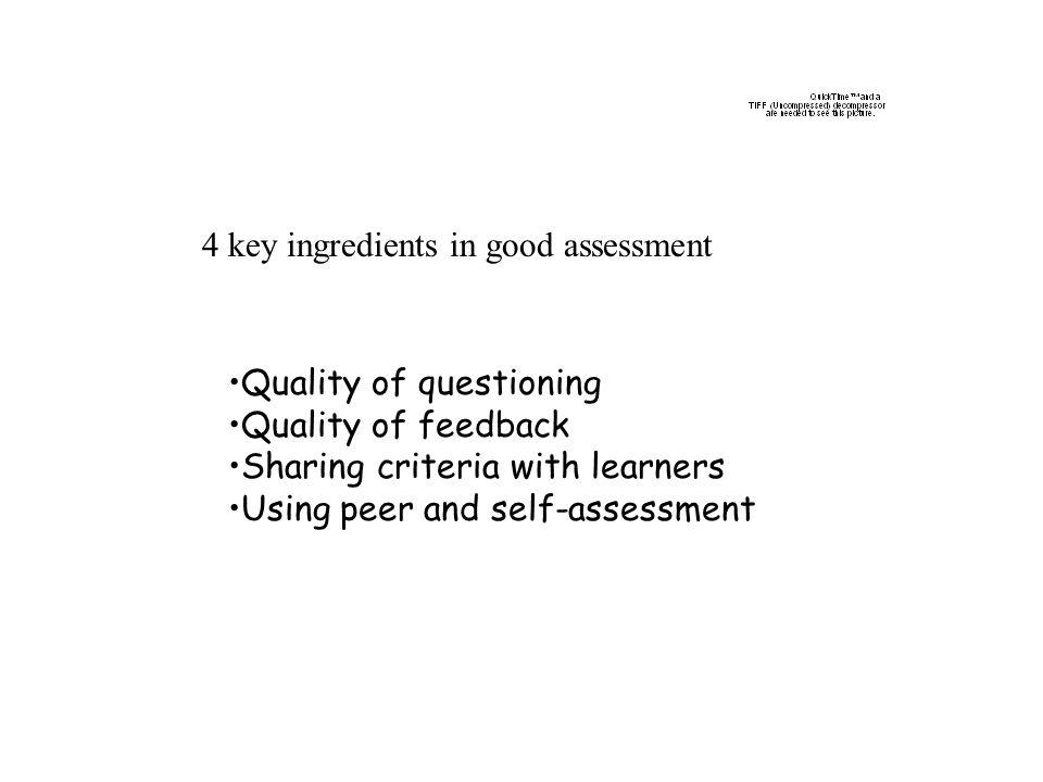 4 key ingredients in good assessment