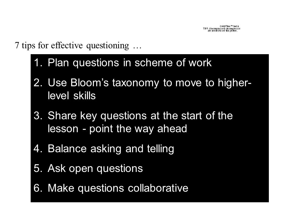 Plan questions in scheme of work