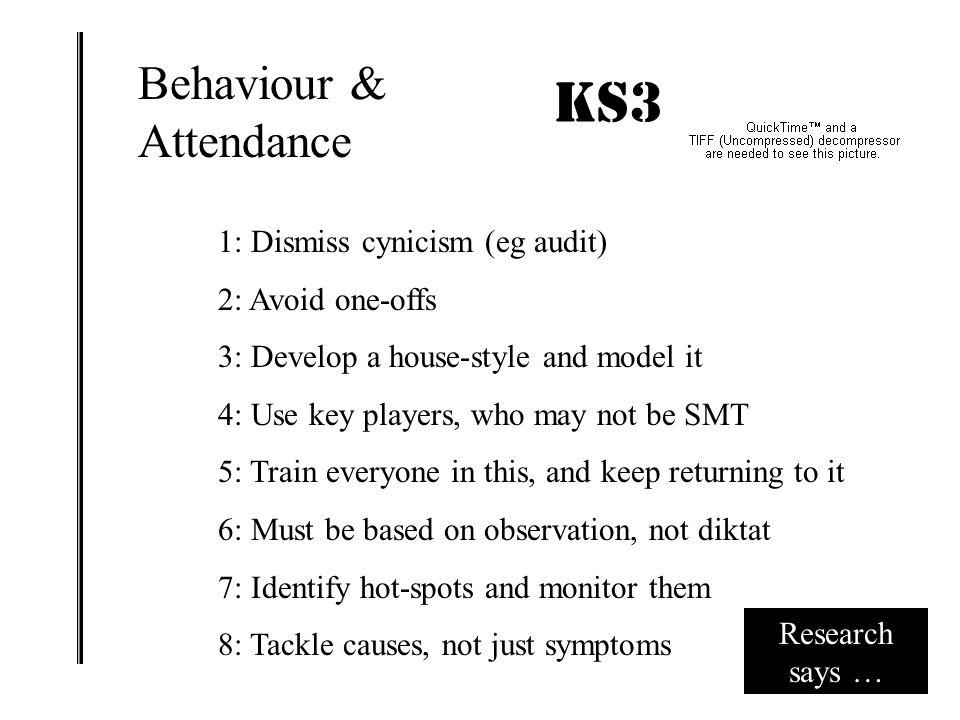 KS3 IMPACT! Behaviour & Attendance 1: Dismiss cynicism (eg audit)