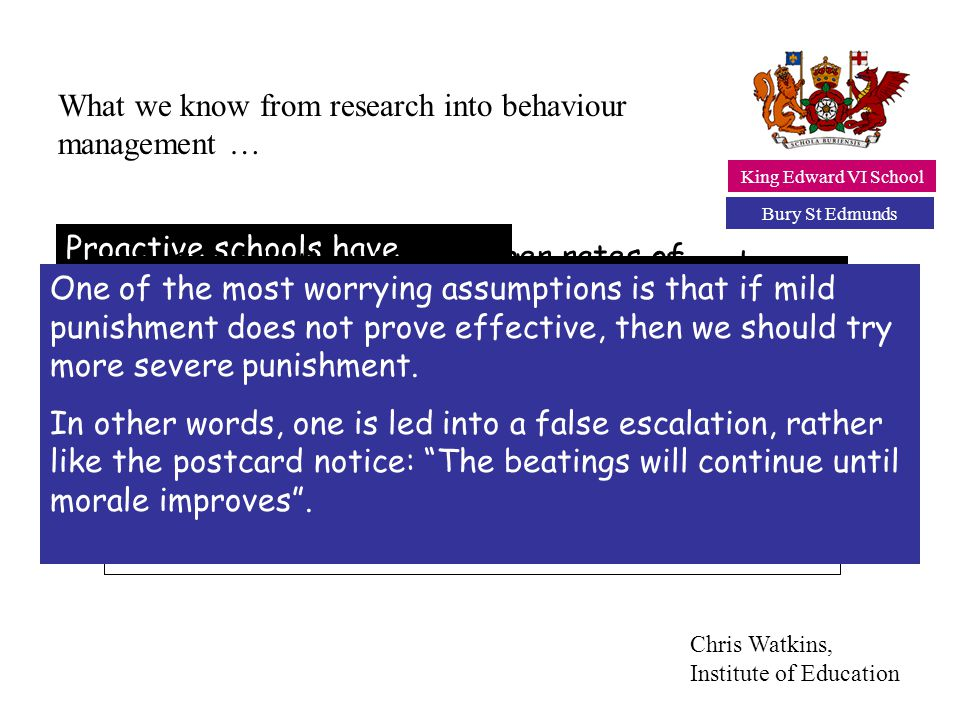 What we know from research into behaviour management …