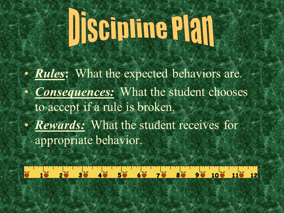 Discipline Plan Rules: What the expected behaviors are.