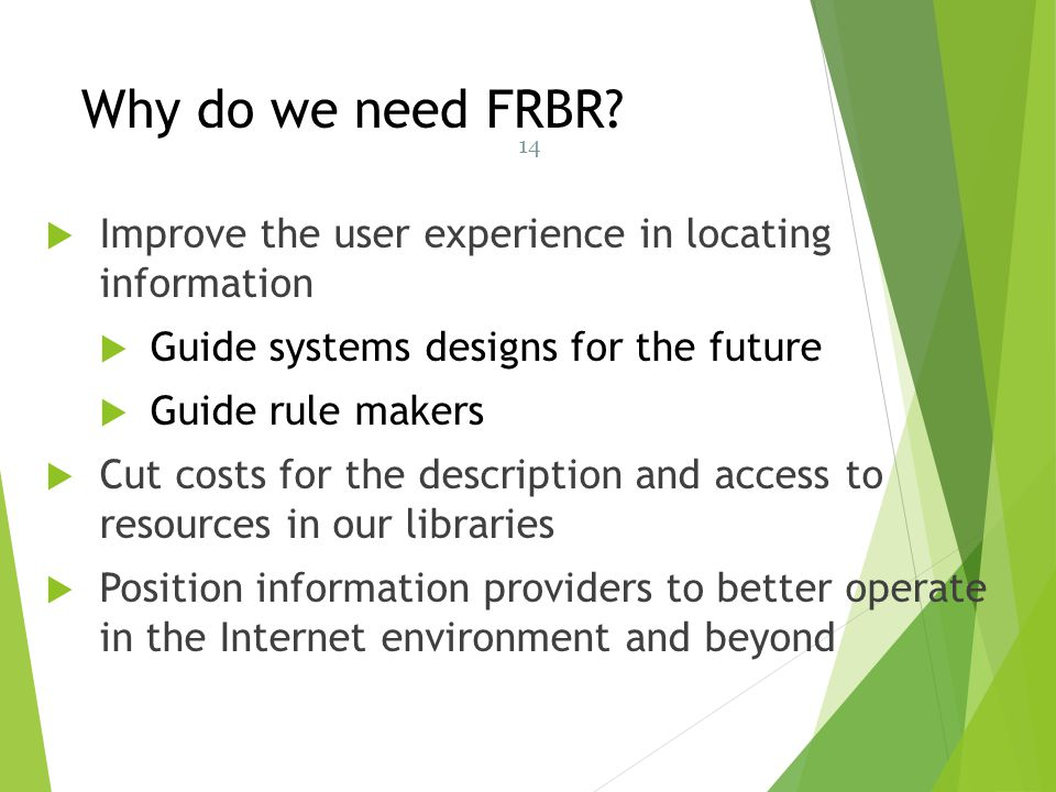 Why do we need FRBR 14. Improve the user experience in locating information. Guide systems designs for the future.