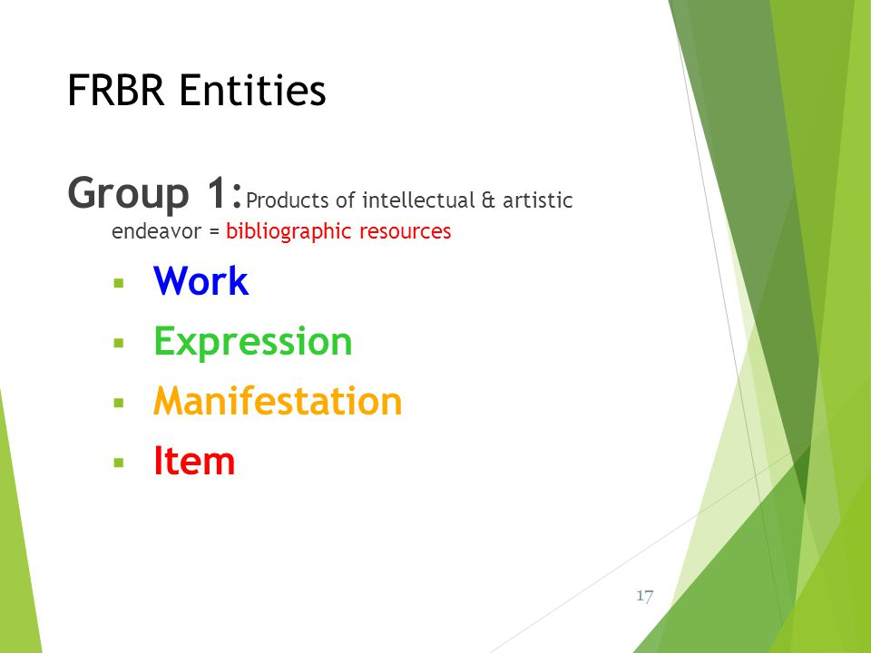 FRBR Entities Group 1:Products of intellectual & artistic endeavor = bibliographic resources. Work.