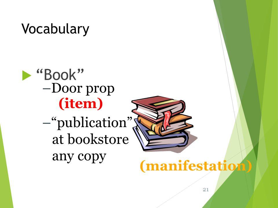 Book Vocabulary Door prop (item) publication at bookstore any copy