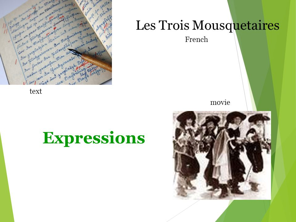 Expressions Les Trois Mousquetaires French text movie