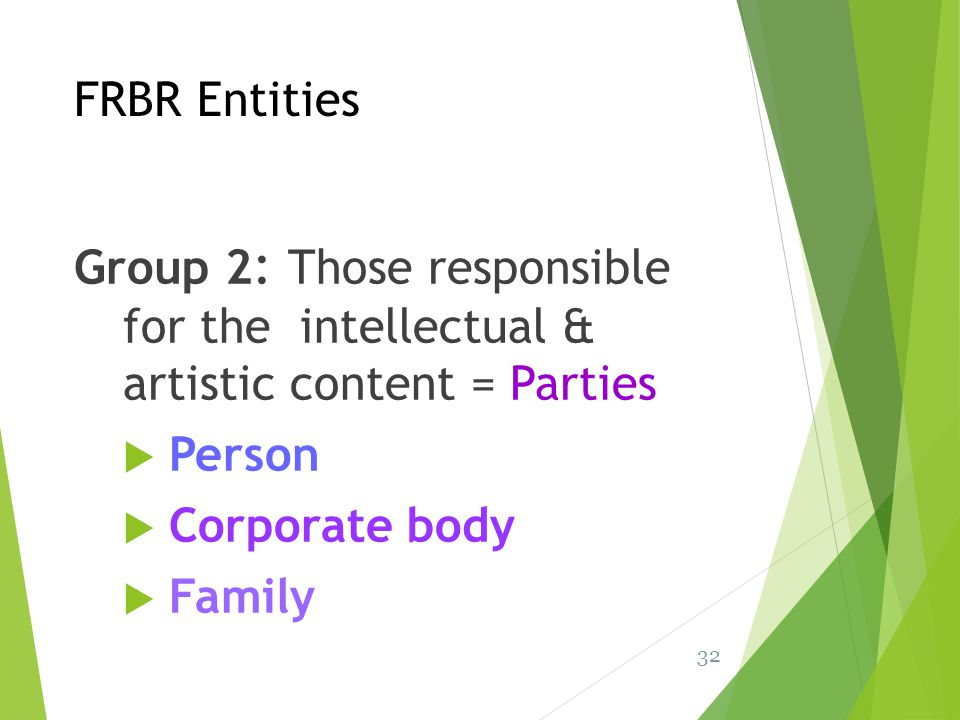 FRBR Entities Group 2: Those responsible for the intellectual & artistic content = Parties. Person.