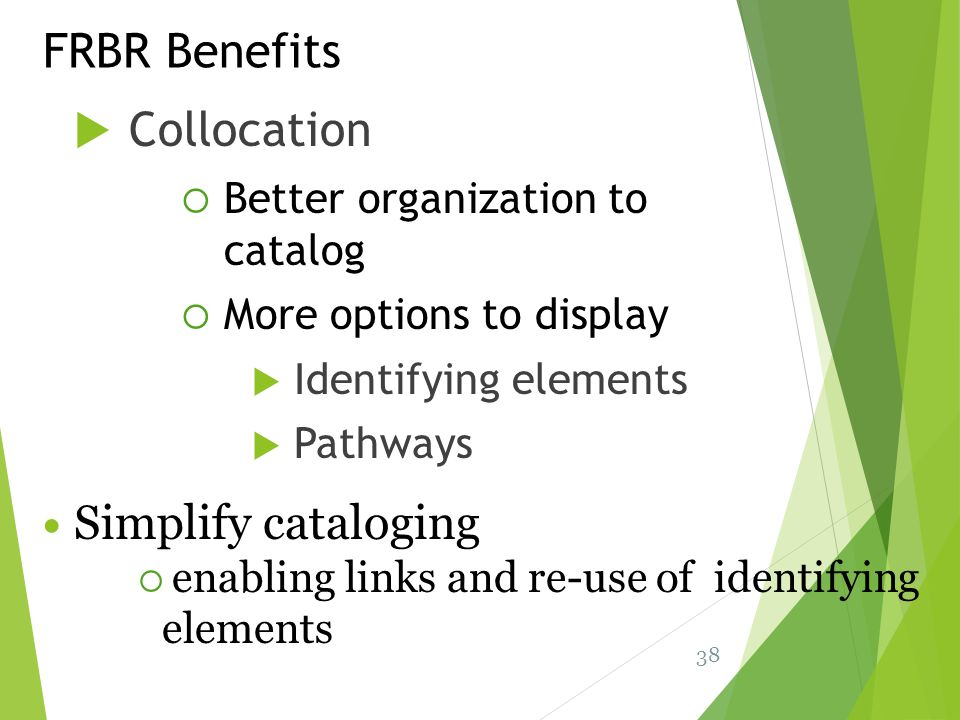 Collocation FRBR Benefits Better organization to catalog