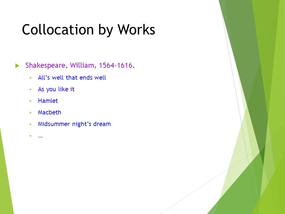 Collocation by Works Shakespeare, William, 1564-1616.