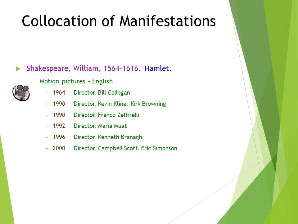 Collocation of Manifestations