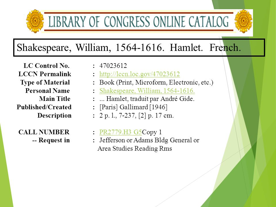 Shakespeare, William, 1564-1616. Hamlet. French.