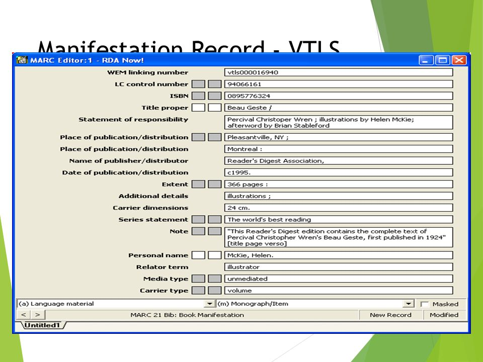 Manifestation Record - VTLS