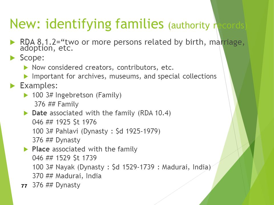 New: identifying families (authority records)