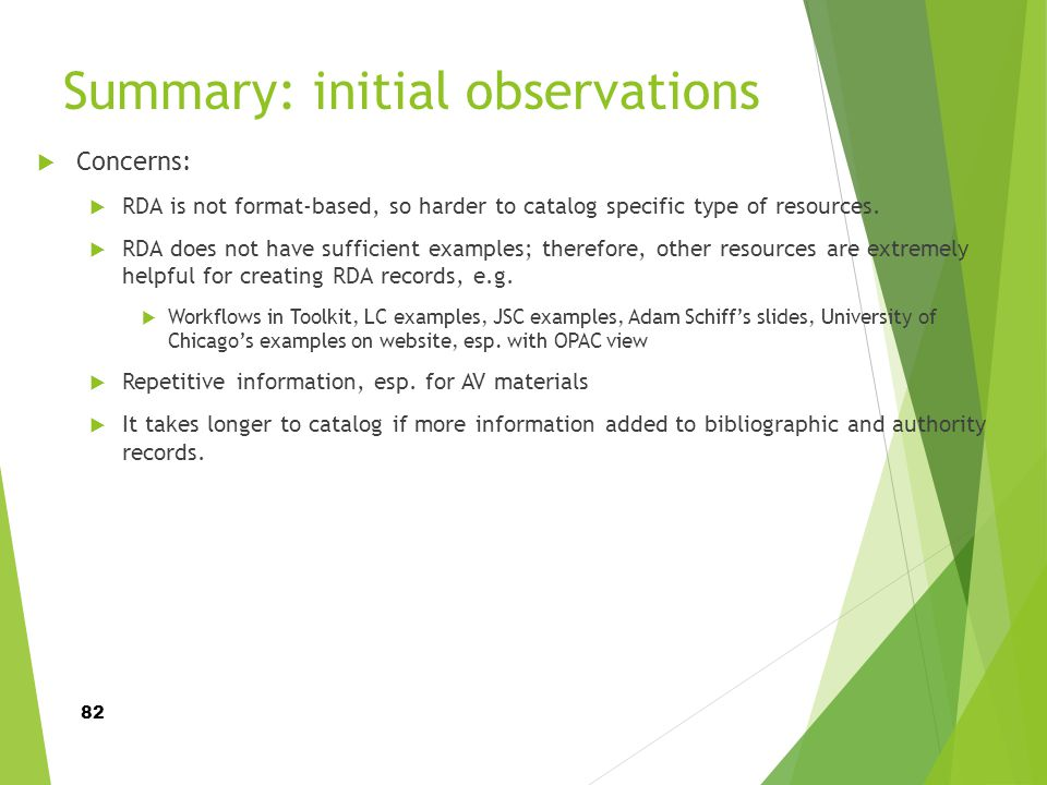 Summary: initial observations