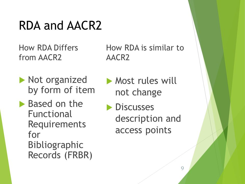 RDA and AACR2 Not organized by form of item