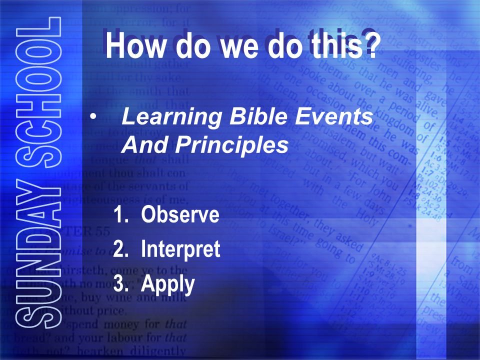 How do we do this Learning Bible Events And Principles Observe