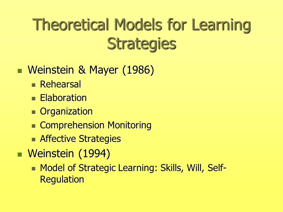 Theoretical Models for Learning Strategies