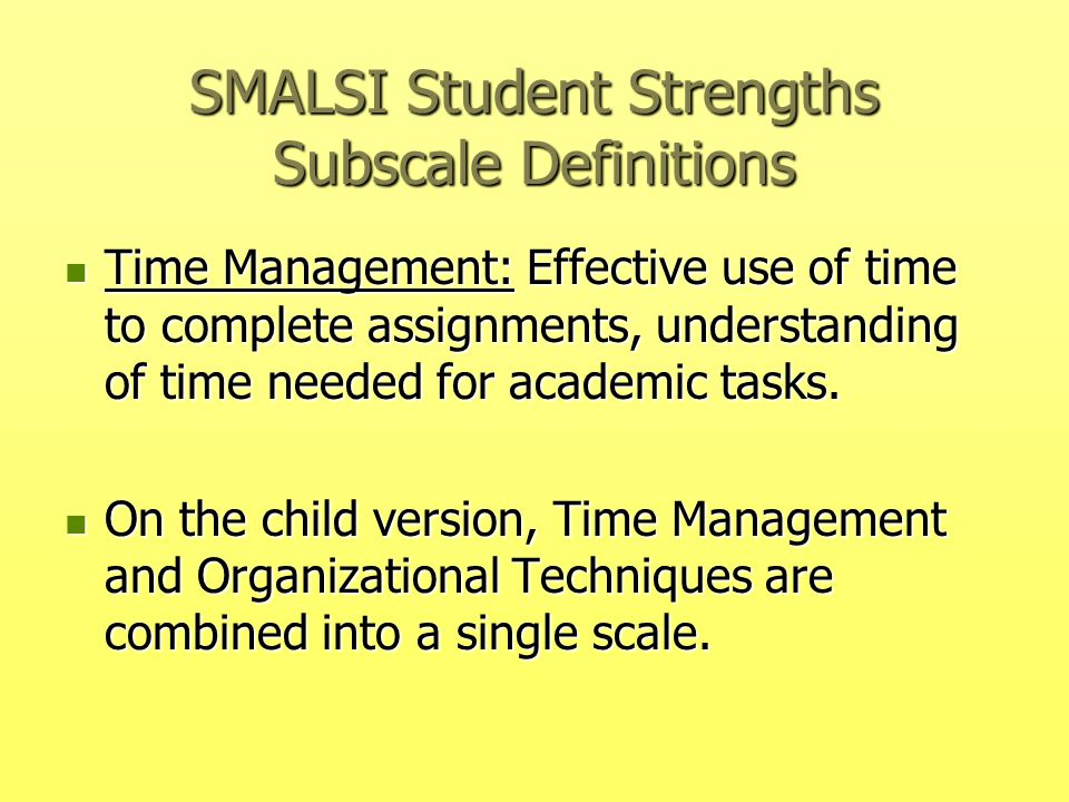 SMALSI Student Strengths Subscale Definitions