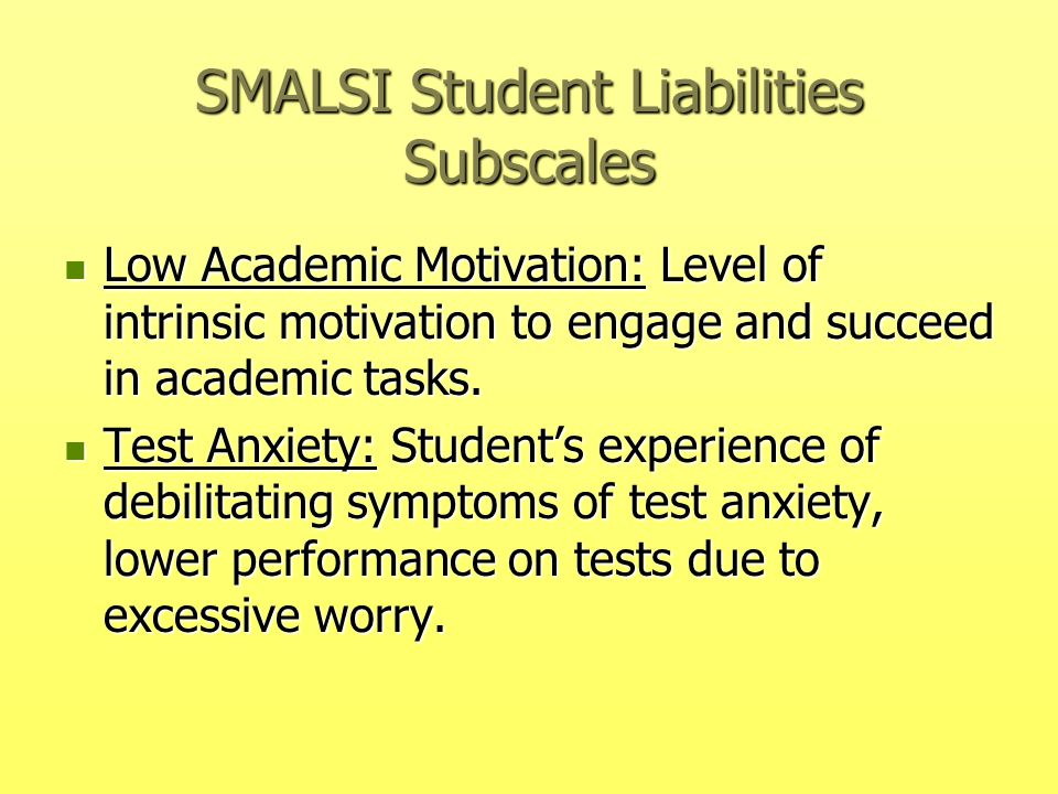 SMALSI Student Liabilities Subscales