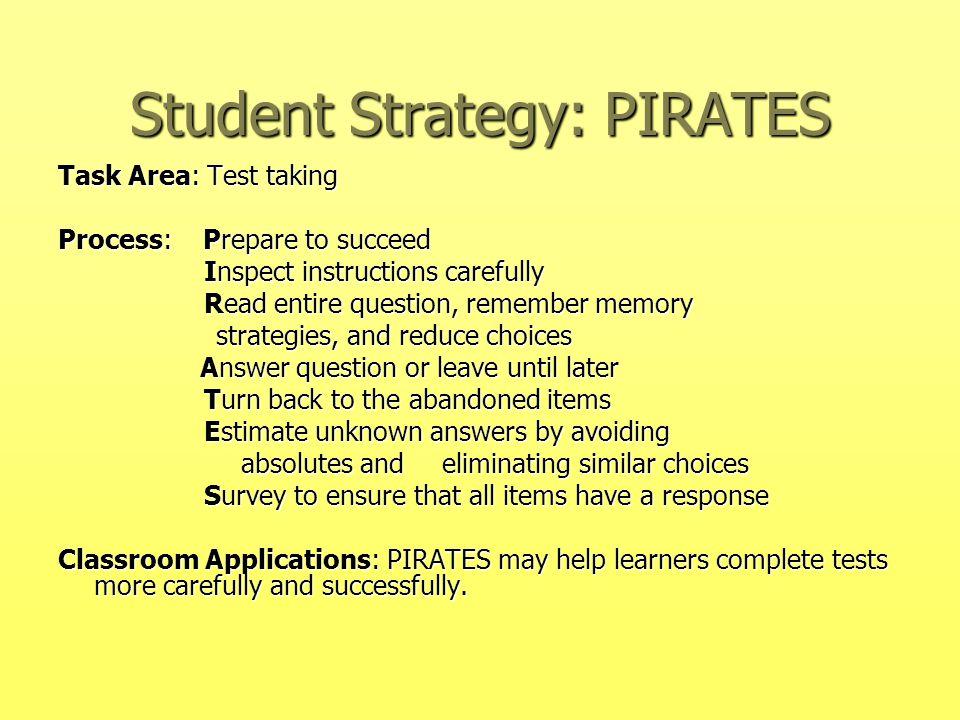 Student Strategy: PIRATES