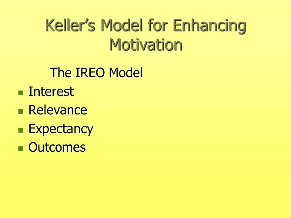 Keller's Model for Enhancing Motivation