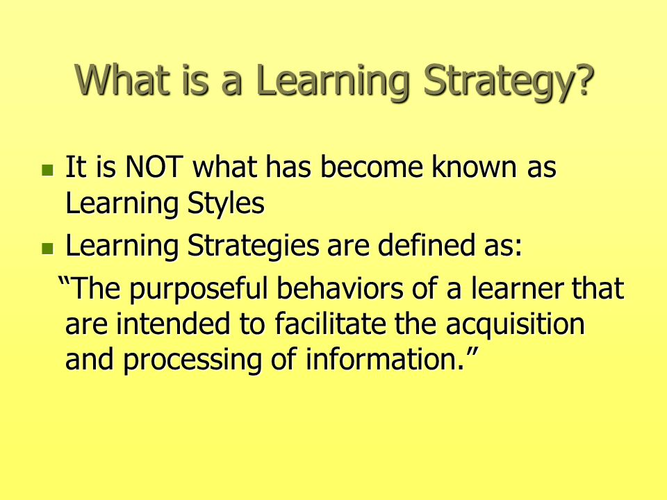 What is a Learning Strategy