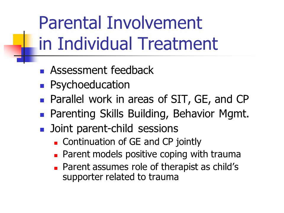 Parental Involvement in Individual Treatment