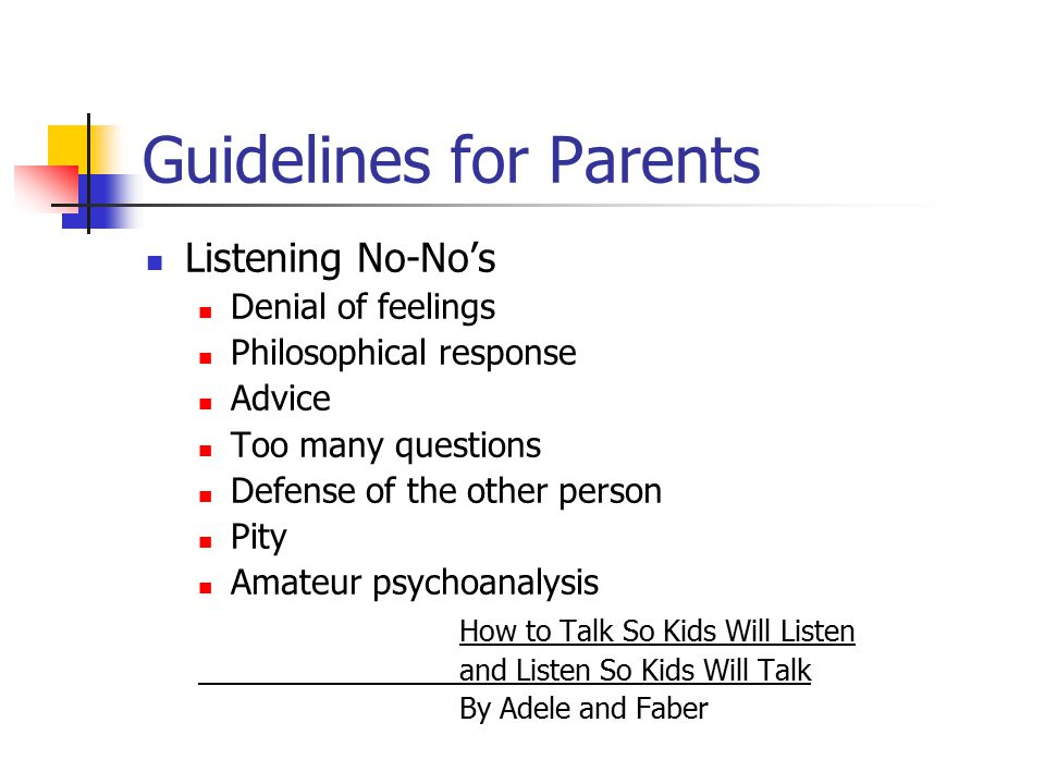 Guidelines for Parents