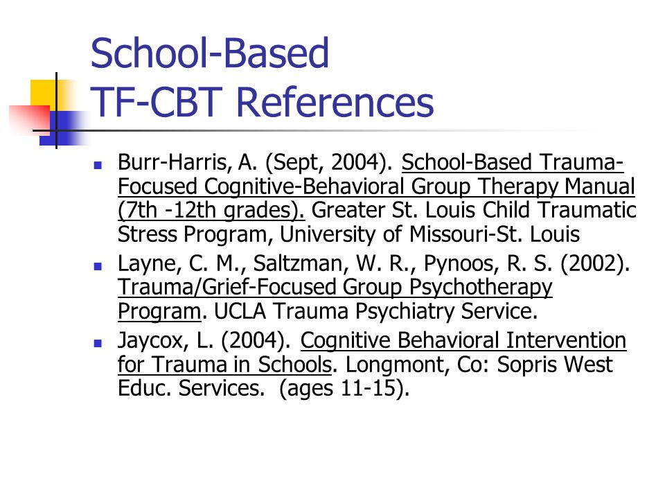 School-Based TF-CBT References