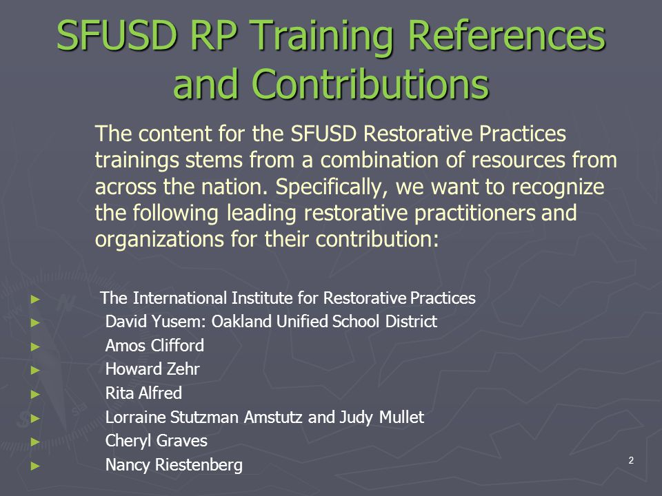 SFUSD RP Training References and Contributions