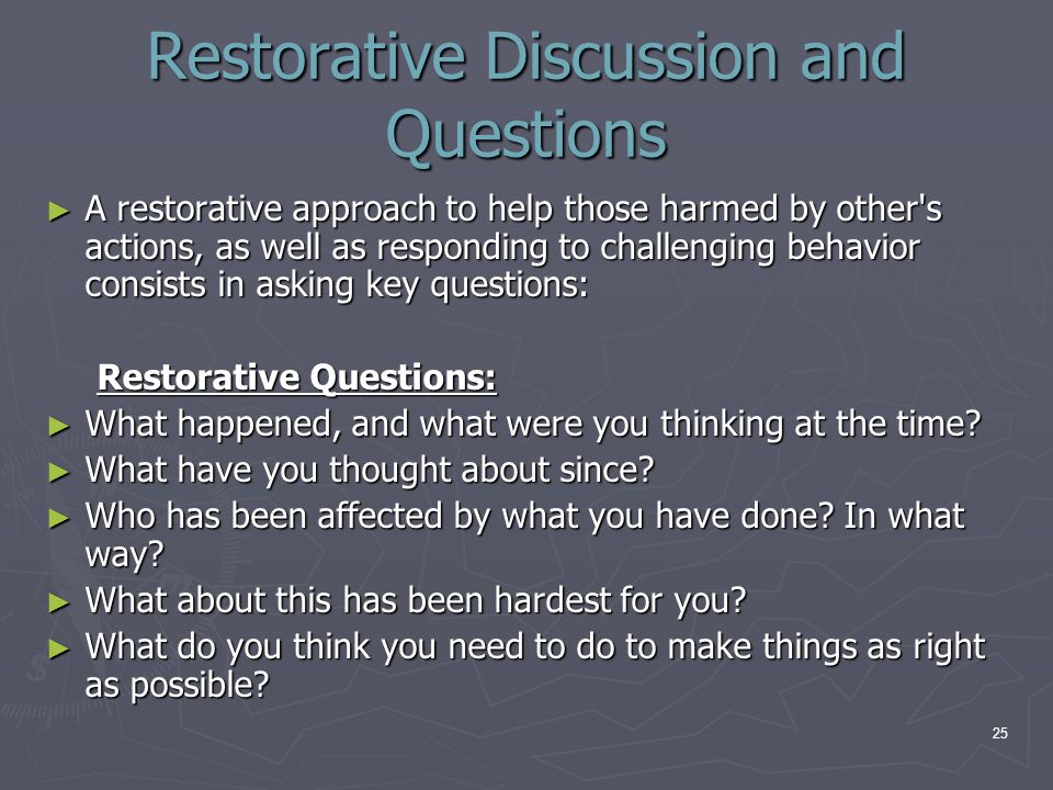 Restorative Discussion and Questions