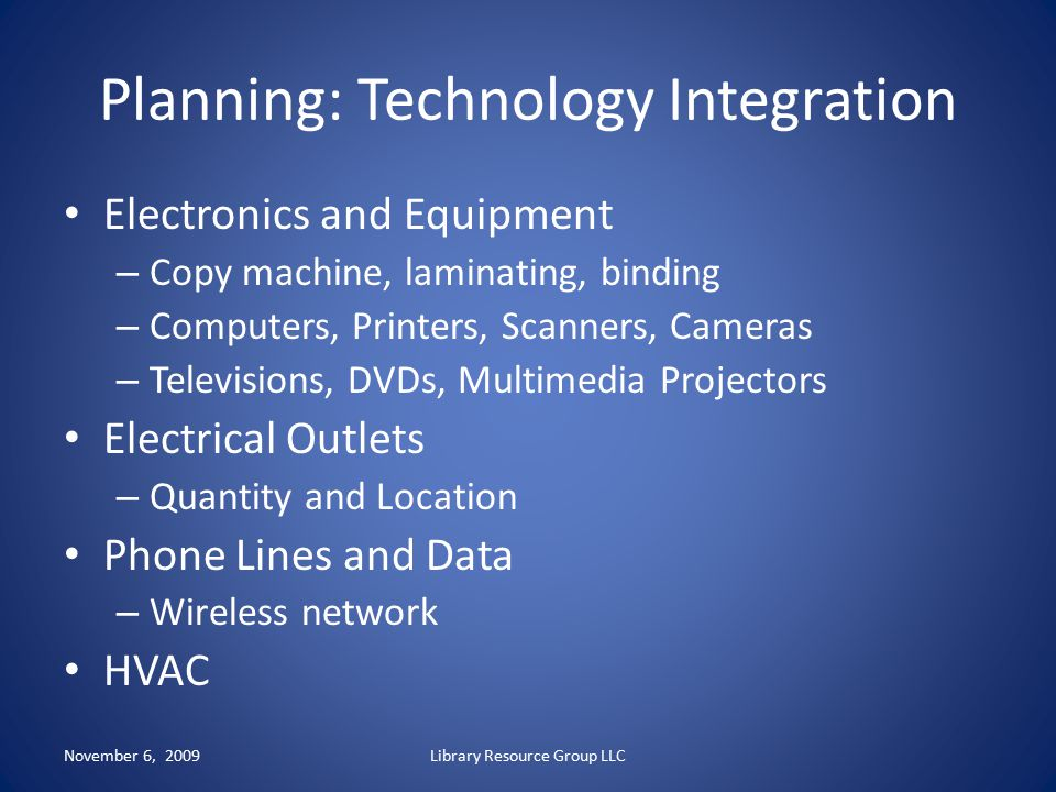 Planning: Technology Integration
