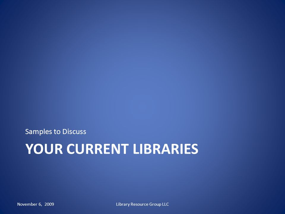 Your current libraries
