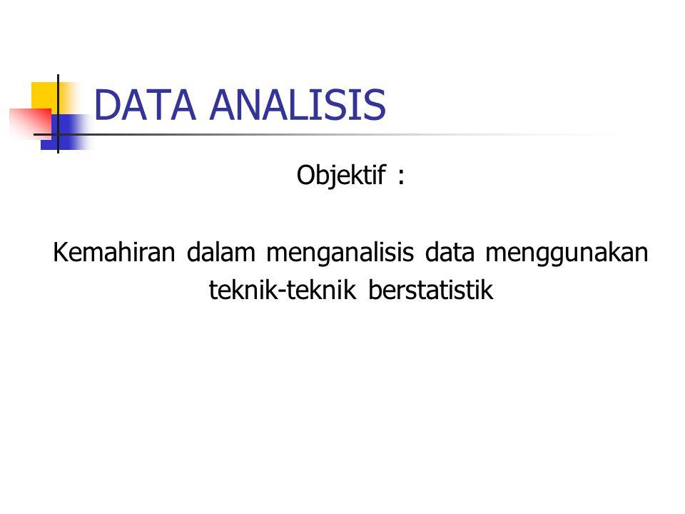 DATA ANALISIS Objektif : Kemahiran dalam menganalisis data menggunakan