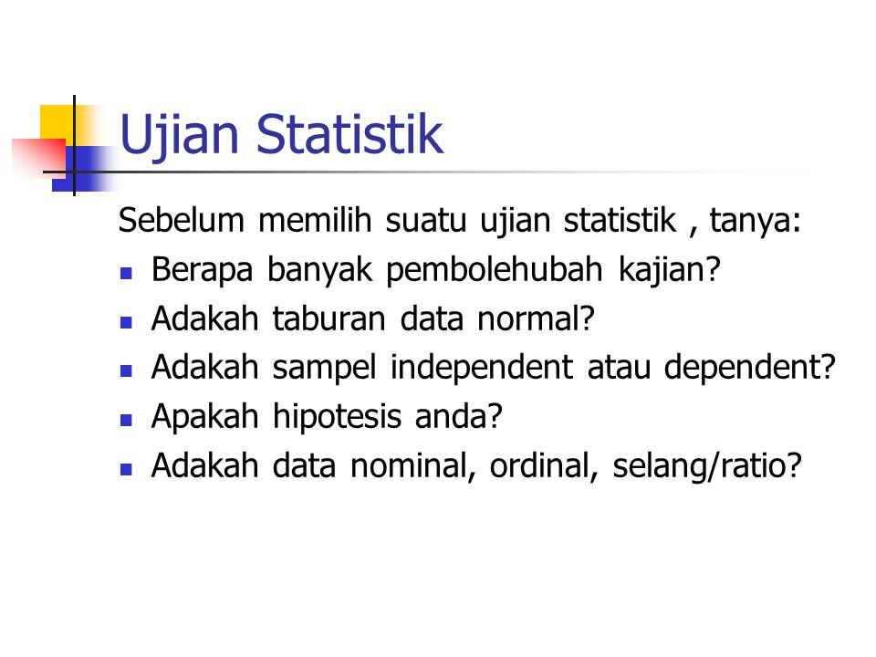 Ujian Statistik Sebelum memilih suatu ujian statistik , tanya: