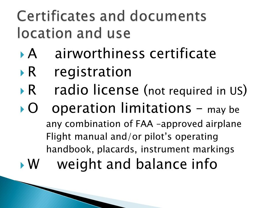 Certificates and documents location and use