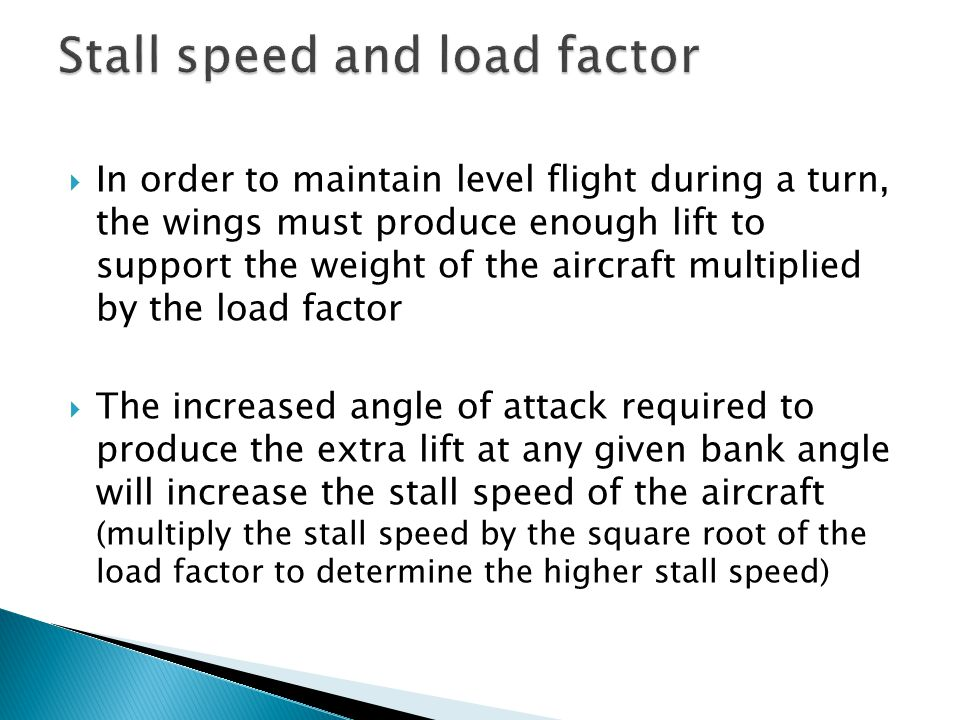 Stall speed and load factor