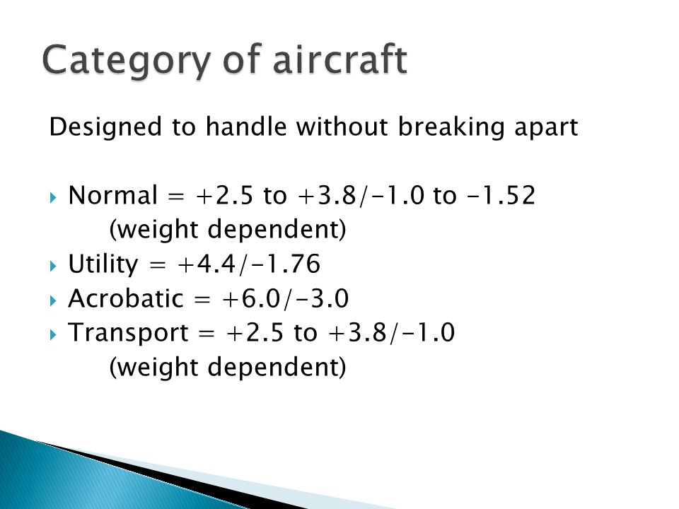 Category of aircraft Designed to handle without breaking apart