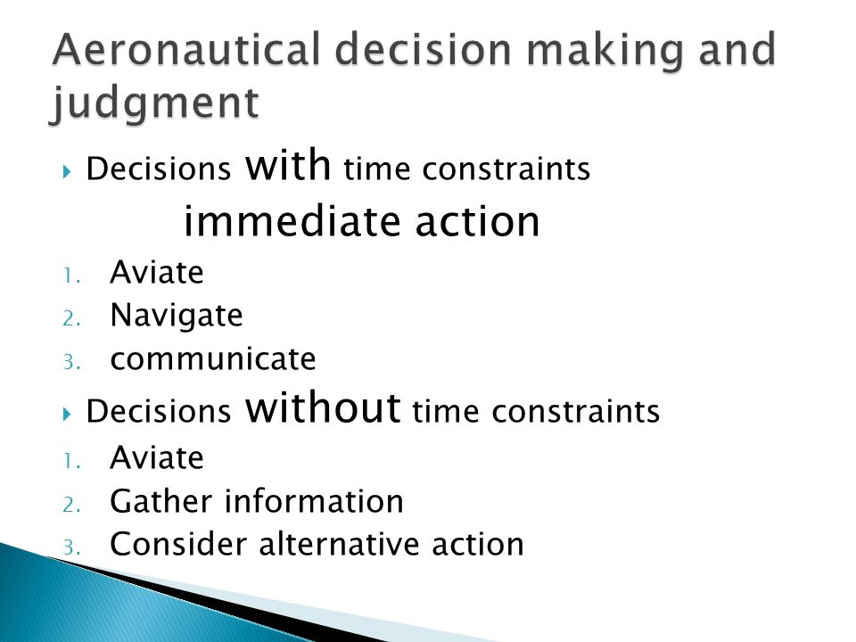Aeronautical decision making and judgment